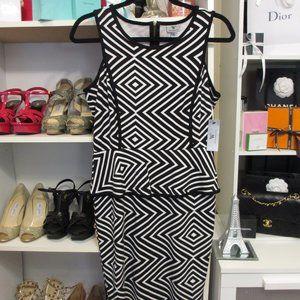 Worthington Black & White Striped Peplum Dress New
